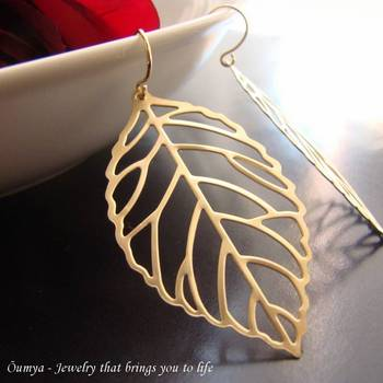 18K Gold Plated Leaf Design Fashion Earrings