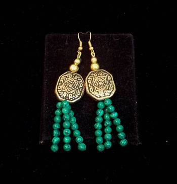 Trendy and ethnic Green Bead long earring
