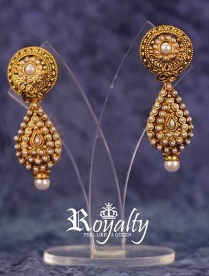 Golden Real Polkis Pearl Earrings
