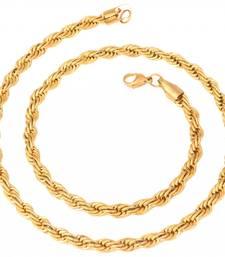 Buy men stainless steel gold rhodium italian puzzle designer cha Necklace online