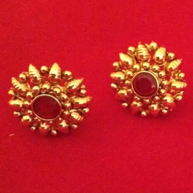 Ethnic South India Bollywood Kundan Stone Golden Stud Earring