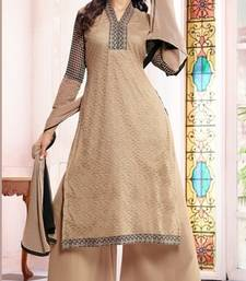 Buy Cream embroidered net semi-stitched salwar with dupatta party-wear-salwar-kameez online