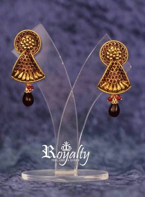 Royalty Colored Crystals embedded Dull Golden Earrings