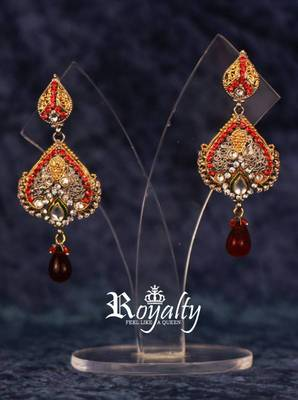 Royalty Crystals Hearts Earrings with Red Drops