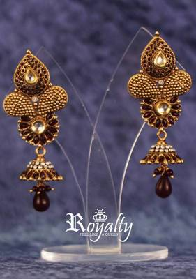 Royal Marron chandelier Gemstone earrings, Antique Ethnic Collection