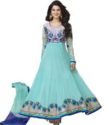 Buy Cyan Embroidered Work georgette semi-stitched salwar with dupatta s11012 party-wear-salwar-kameez online
