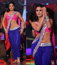 Buy blue color plain chiffon bollywood style saree with blouse piece katrina-kaif-saree online