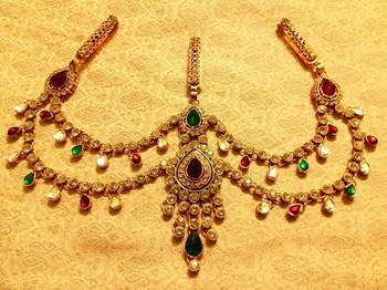 Kundan Triple Juda Waist Belt Kamarband Ethnic Wedding Jewelry