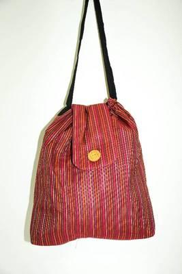 Brown Threaded Multiple Strips Hand Bag