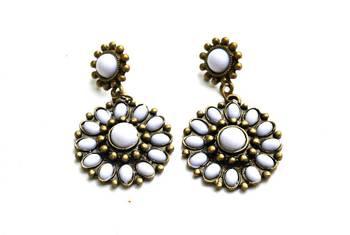 Ethnic white fashion earrings