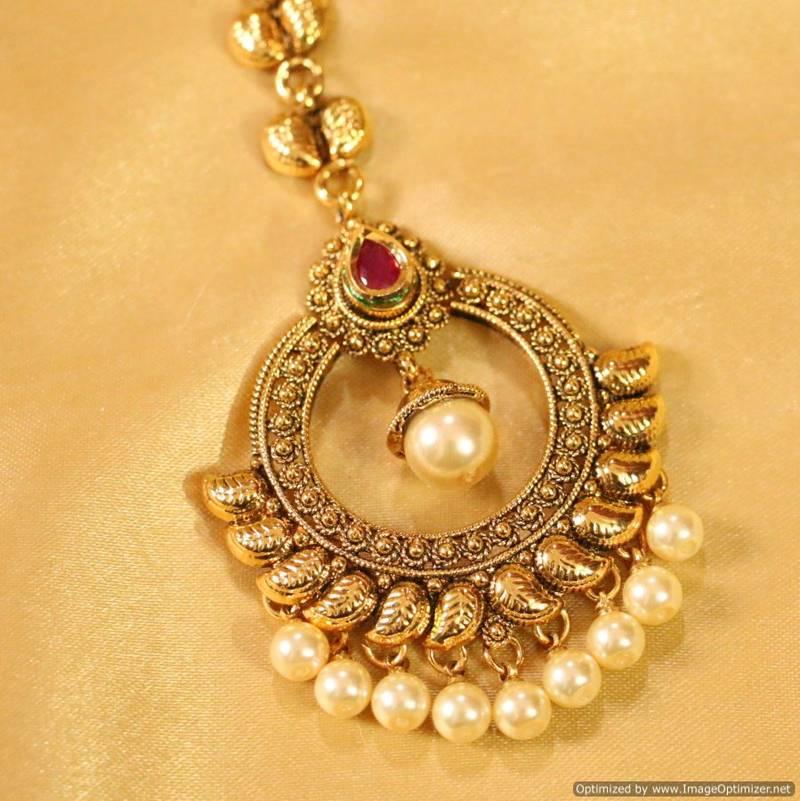 Buy Antique Ruby Amp Pearl Maang Tikka Online