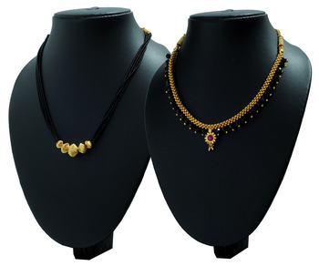 Crystal Yellow Gold Alloy Combo Pack of 2 Mangalsutra