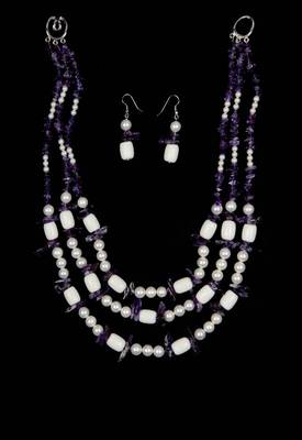 Just Women - Amethyst and Shell Pearl Necklace & Earring Set