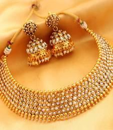Buy BEAUTIFUL PEARL BRIDAL CHOKER ANTIQUE NECKLACE SET necklace-set online