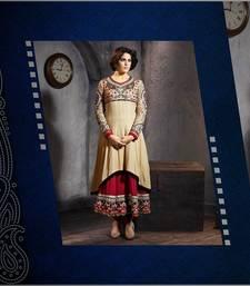Buy Beige embroidered viscose semi-stitched salwar with dupatta sharara online