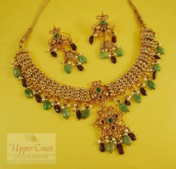 Traditional Polki Garnate Jade Necklace Jewellery Set
