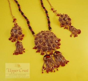 Filigree Ruby Garnate Polki Pendant Necklace set