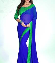 Buy Blue - Green embroidered georgette saree with blouse party-wear-saree online