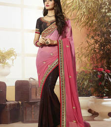 Buy Pink  -  Brown embroidered georgette saree with blouse half-saree online