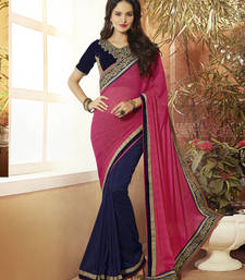 Buy Pink  -  Navy Blue embroidered georgette saree with blouse half-saree online