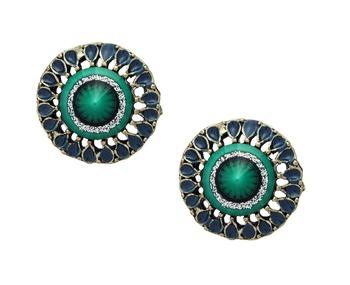 Vintage Green Stud Earrings