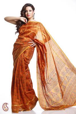 Orange and Rust Doriya and Printed Tusser Silk Saree