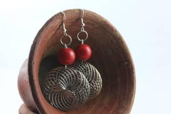 Silver Spirals (Red)