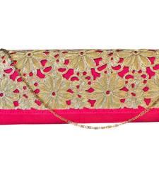 Buy Raw Silk Box Clutch with Cutwork Lace Flap (Pink) eid-bag online