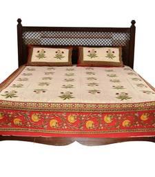 Buy Beige Sanganeri Cotton Printed Double Bed Size Bedsheet bed-sheet online