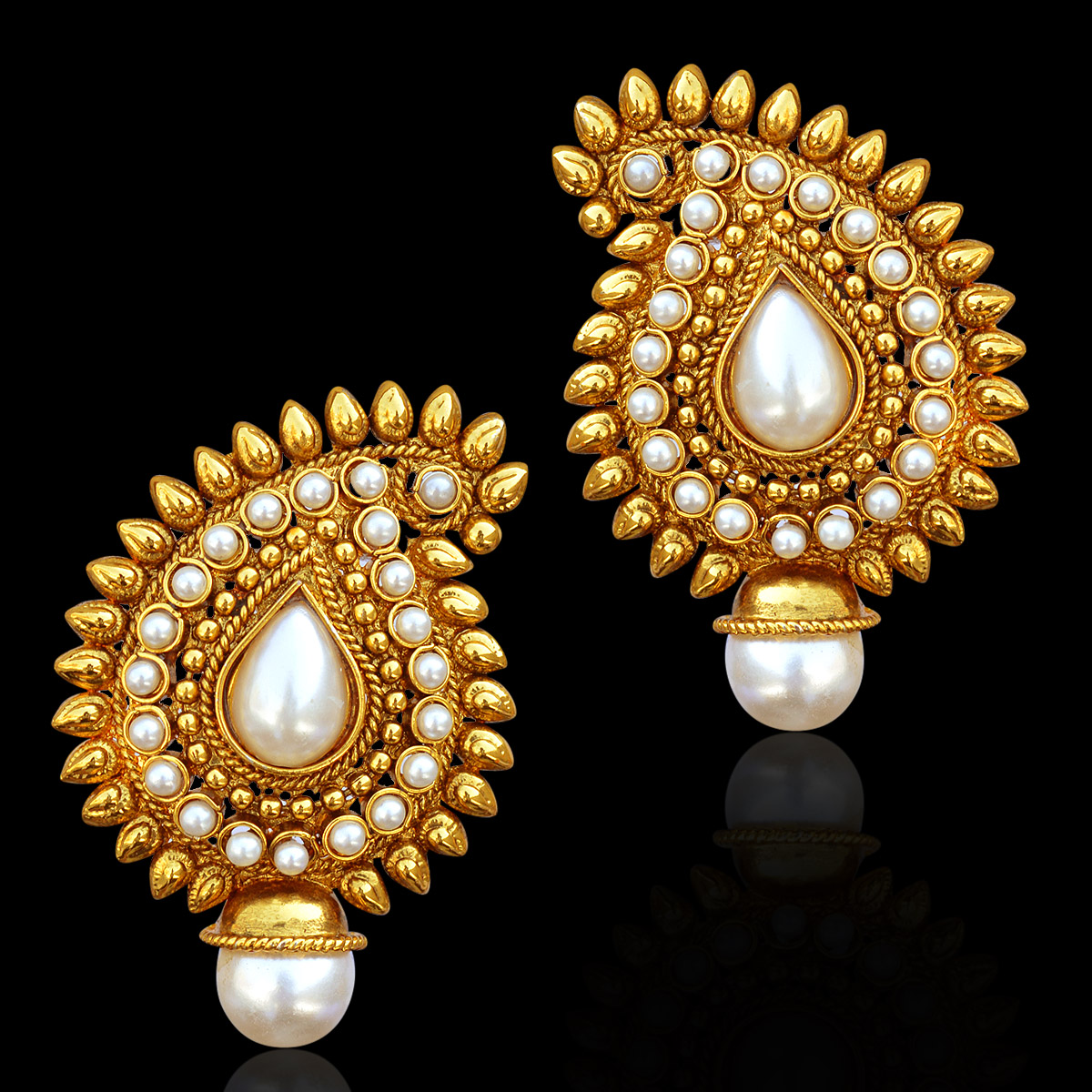 Buy Traditional Indian Bollywood Jewelry Gold Finish Paisley Stud ...