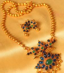 Buy AWESOME ANTIQUE DESIGNER BLUE-GREEN NECKLACE SET-DJ00276 necklace-set online