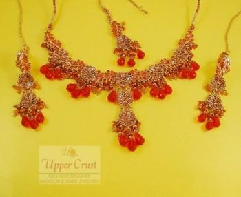 Deep Orange flower Polki Necklace Maang Tikka Jewellery