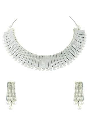 Bridal Clear CZ AD American Diamond Necklace Set Jewellery for Women - Orniza