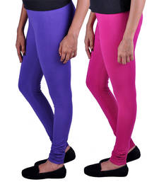 Buy Combo Pack of 2 Cotton , Lycra Leggings- Magenta & Purple fashion-deal online