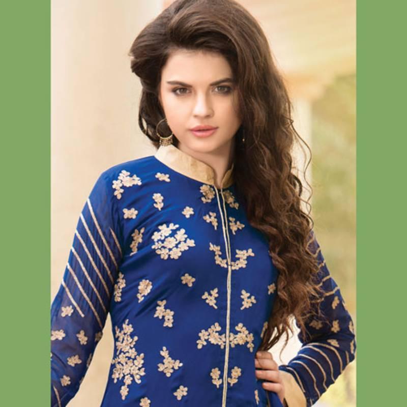 Stand Collar Neck Designs For Salwar Kameez : Buy blue embroidered georgette semi stitched salwar with