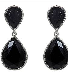 Buy Black Dual Droplet Drop Earrings danglers-drop online
