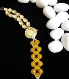 Buy yellow kundan and beads watch watch online