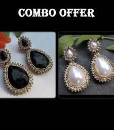 Buy Buy 2 Fancy Black & Pearl Stone Earrings jewellery-combo online