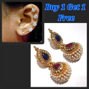 Pink and Blue Kundan Pearl Jhumki and free Earr Cuff