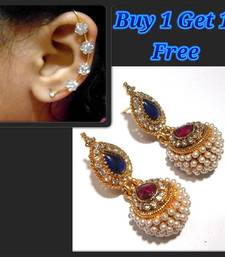Buy Pink and Blue Kundan Pearl Jhumki and free Earr Cuff jewellery-combo online