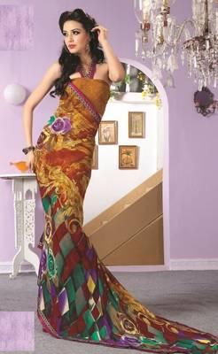 Sarees Faux Georgette Elegant Designer Piece with Blouse Piece D.No 3008A