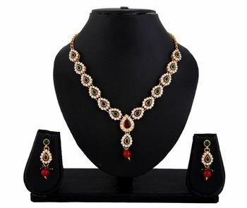 Red Green Kundan Necklace Earrings Set for women