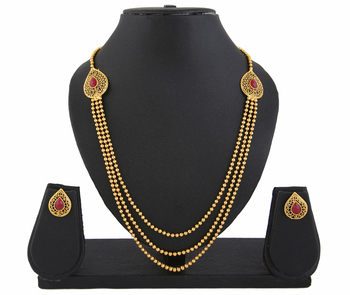 Gold Plated Red Stone 3 string Necklace Set