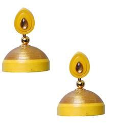 Buy Yellow Quilled Jhumkas danglers-drop online