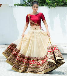 Buy CREAM PLAIN HEAVY GHER BRIDAL LEHENGA WITH BLOUSE bridal-lehenga online