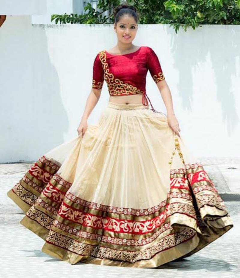 Buy Cream Plain Heavy Gher Bridal Lehenga With Blouse Online