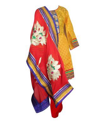 Sihiri Yellow Banaras Jacquard Dress Material Punjabi Suit with Red Georgette Dupatta