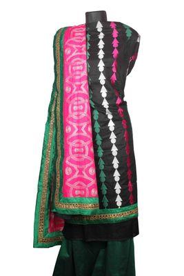 Sihiri Black Banaras Cotton Silk Dress Material Punjabi Suit with Pink Georgette Dupatta