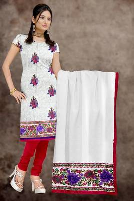 Sihiri White Georgette Dress Material Punjabi Suit with White Georgette Dupatta