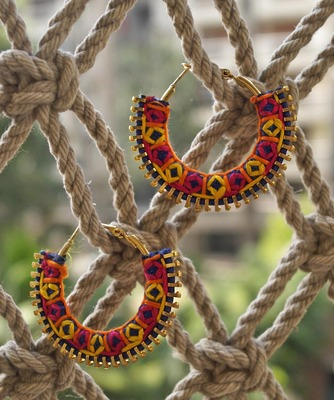 Colorful hand embroidered hoops